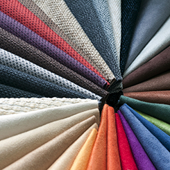 Various colors of fabrics fanned out