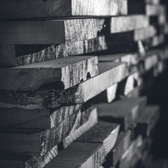 Stacks of raw wood at Omega's Rough Mill