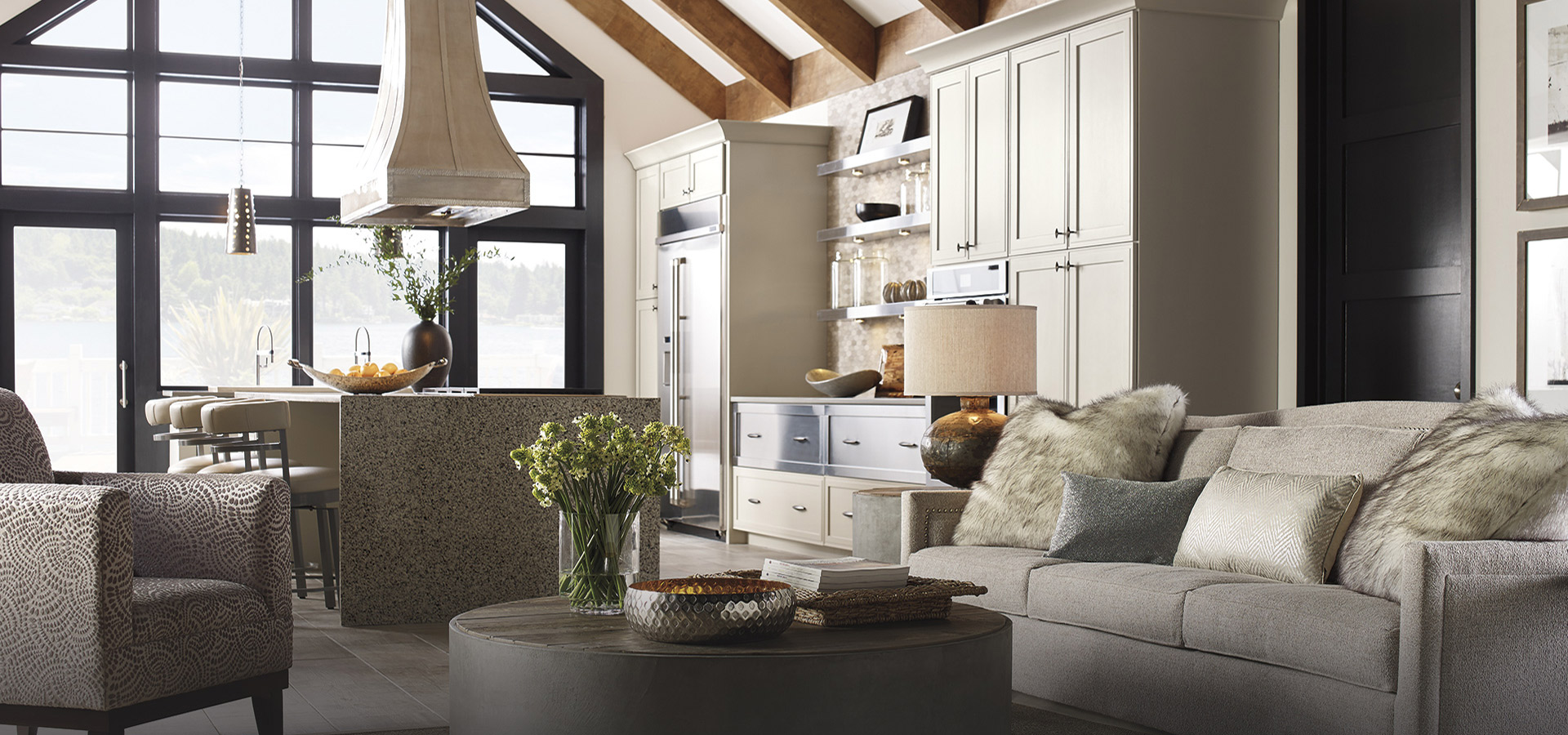 Leto and Tarin gray kitchen cabinets in Meteor Gray finish