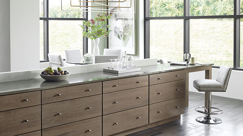 Cayhill Walnut kitchen cabinets in Pumice finish