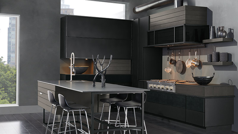 Modern Tarin kitchen in Maple Black and Walnut Smokey Hills