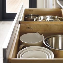Cabinet drawer with bowls inside