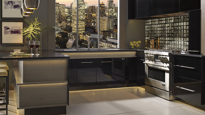 Ricci and Desoto Full Access kitchen cabinets in high gloss black