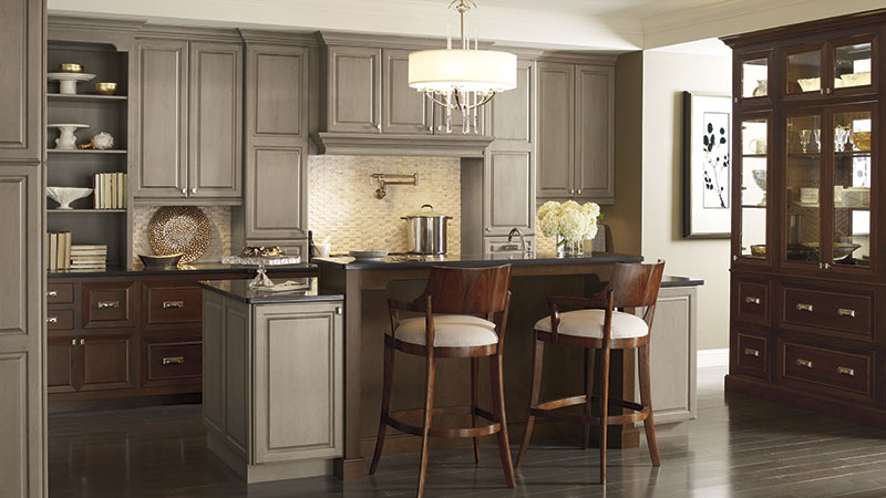 Brookside and Riff kitchen cabinets in Cherry Pumice and Chestnut finishes