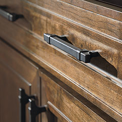 cabinet handles. Close-up Detail Of Cabinet Pulls In An Oil-rubbed Bronze Finish Handles