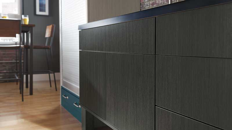 Close-up of Nella kitchen cabinets in laminate specialty material