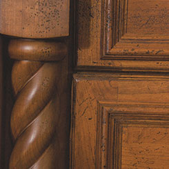 Close-up of cabinets with a special effect finish
