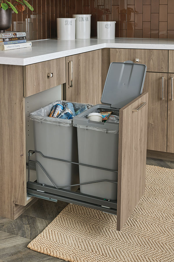 Base Waste Basket, Double in Gray