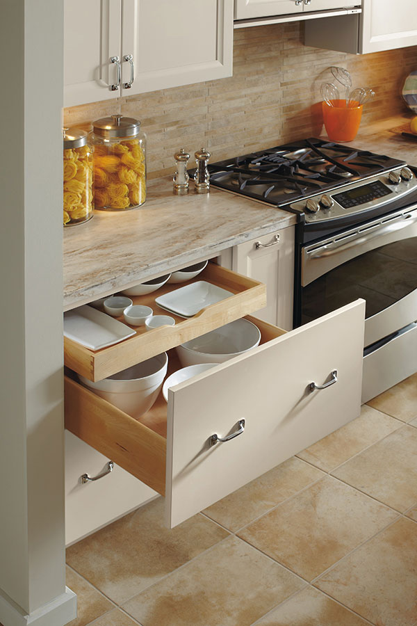 deep drawer base cabinet with rollout - omega