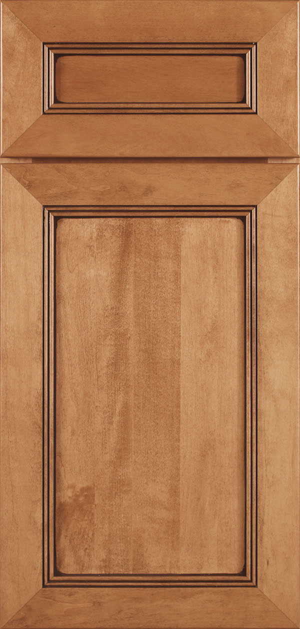 Bancroft 5-piece cherry reversed raised panel cabinet door in butternut with coffee glaze