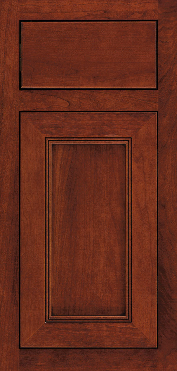 Bancroft cherry inset cabinet door in sable with coffee glaze