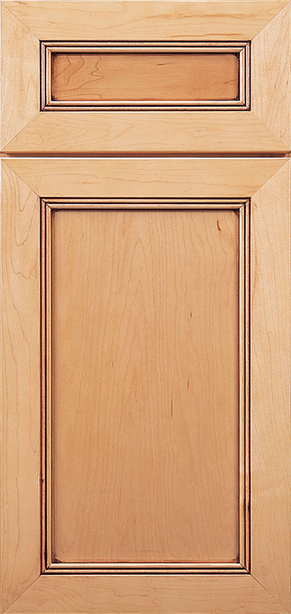 Barrington 5-piece maple flat panel cabinet door in autumn with bronze glaze