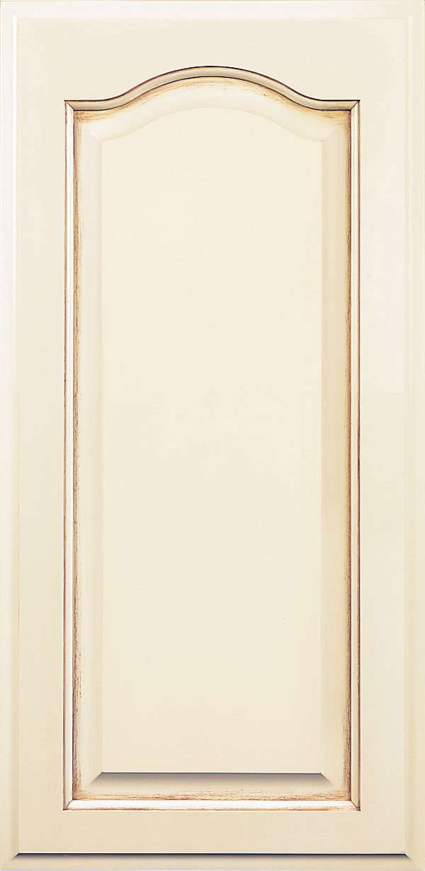 Brookside maple raised panel cabinet door in pearl with cappuccino glaze