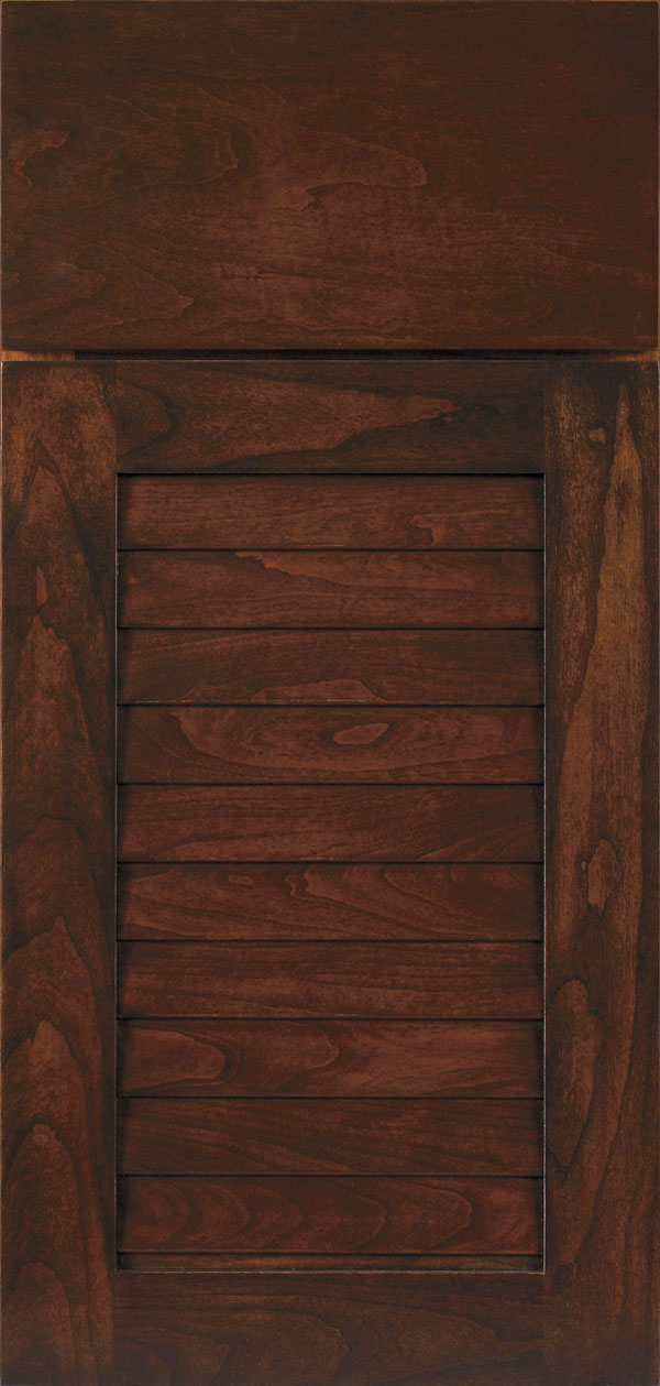 Cancun cherry louvered cabinet door in chestnut