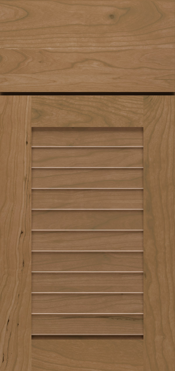 Cancun cherry louvered cabinet door in desert