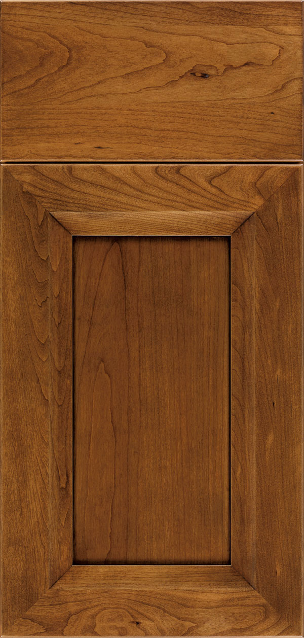 Cayhill cherry reversed raised panel cabinet door in nutmeg with onyx glaze