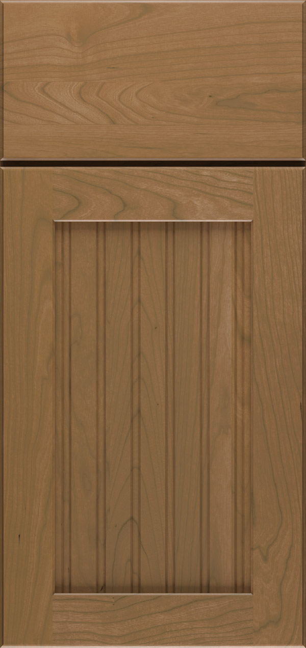 Clayton cherry beadboard cabinet door in desert