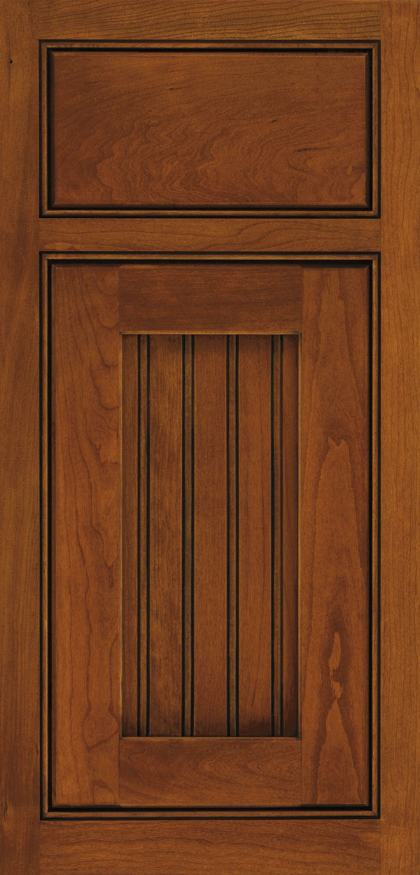 Clayton cherry inset cabinet door in nutmeg with onyx glaze