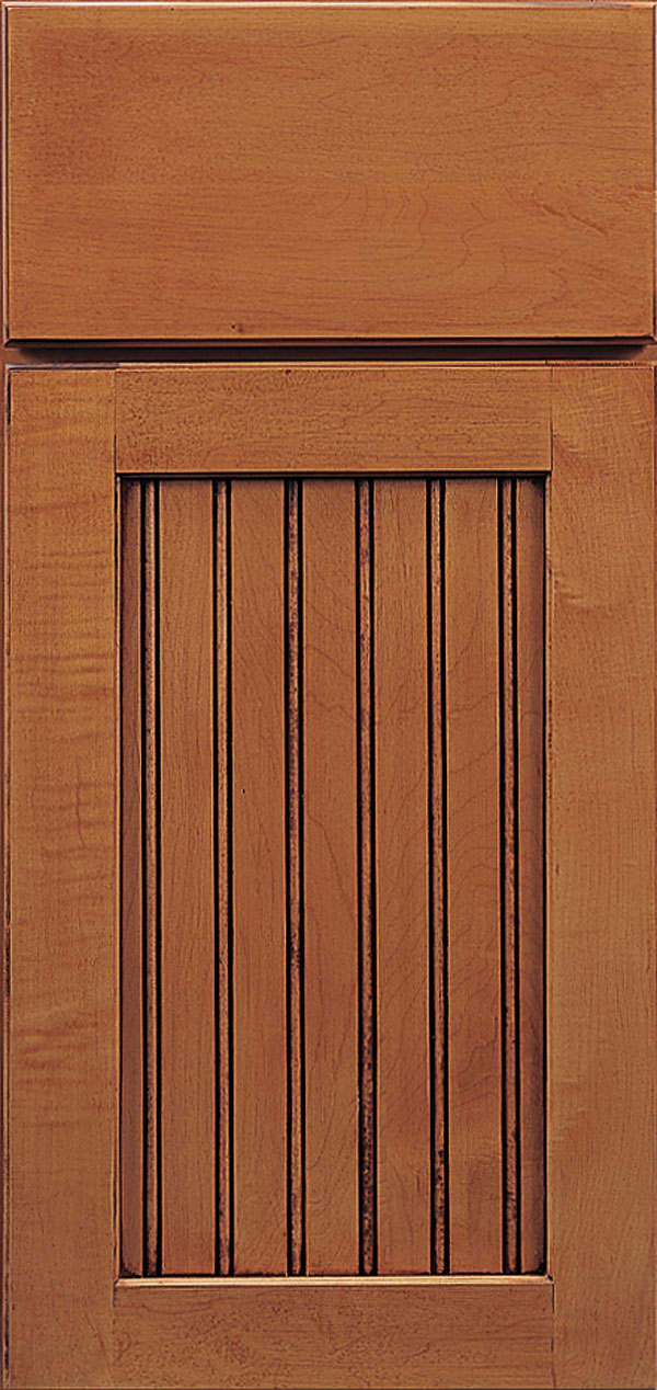 Clayton maple beadboard cabinet door in ginger with coffee glaze