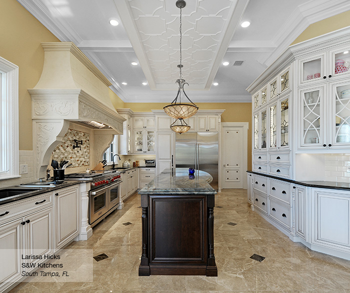 Artesia kitchen cabinets in maple pearl with island in cherry pesto