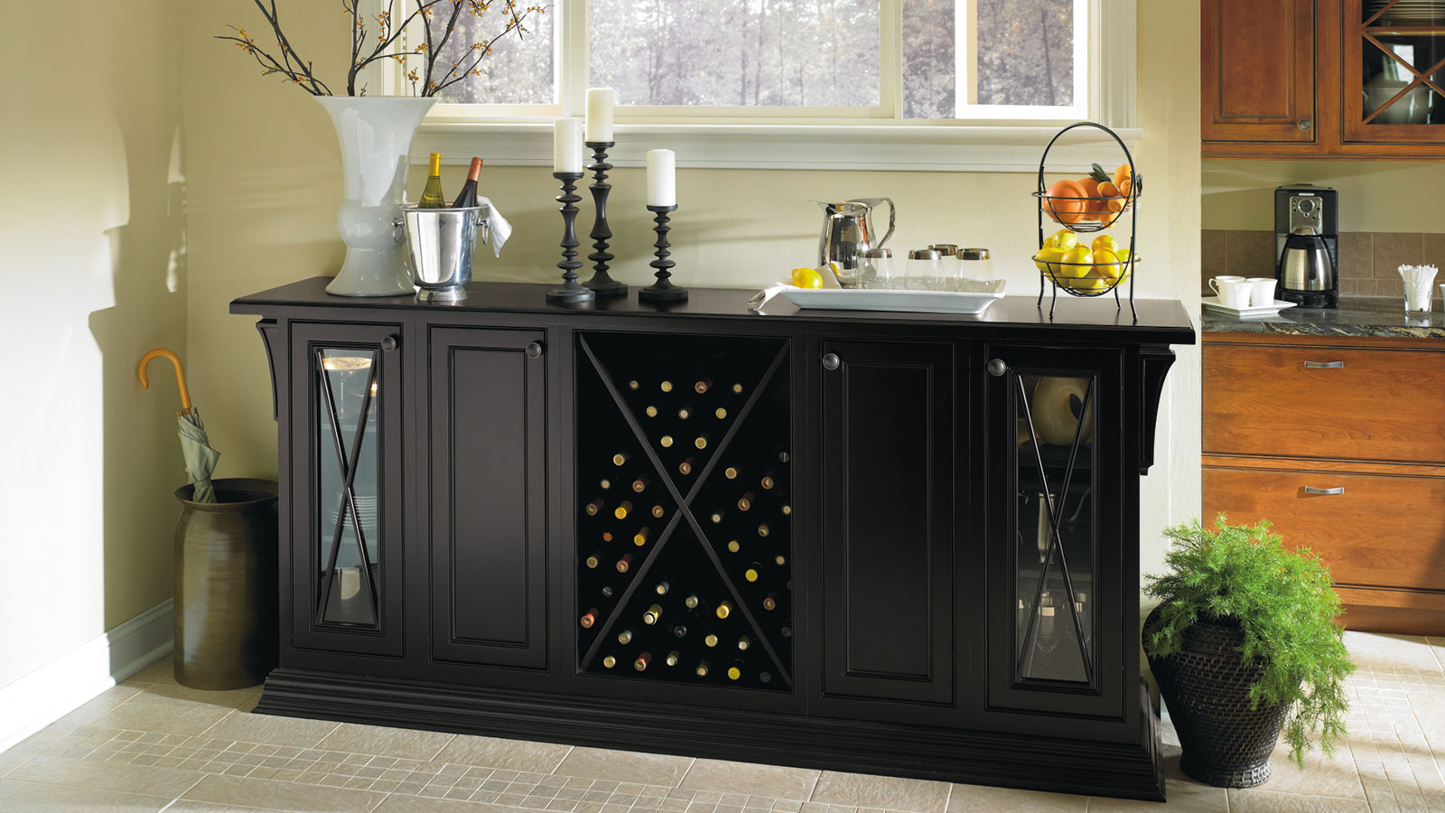 Black Storage Cabinet in a Dining Room