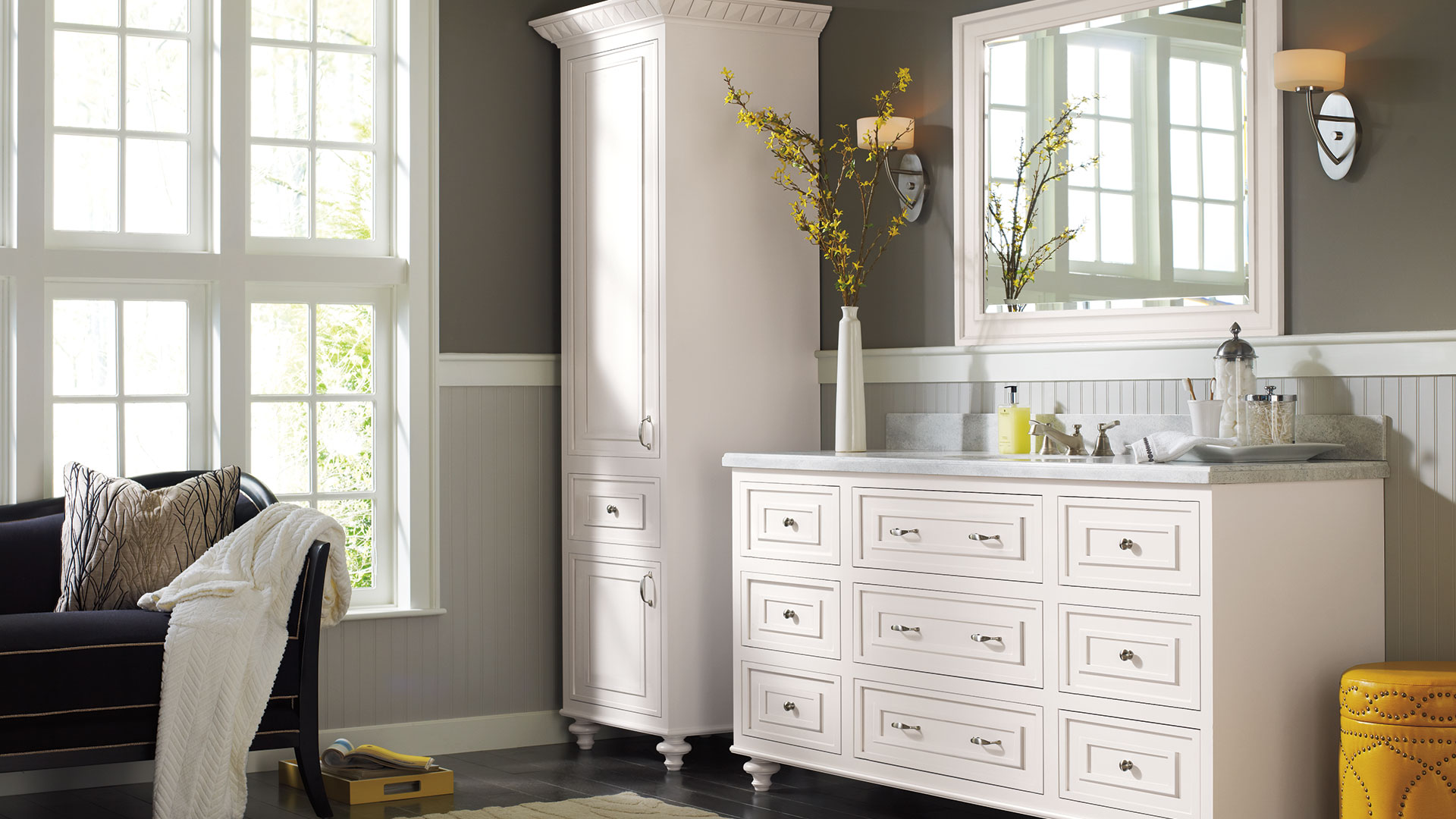 Traditional Bathroom Cabinets in Pure White Finish