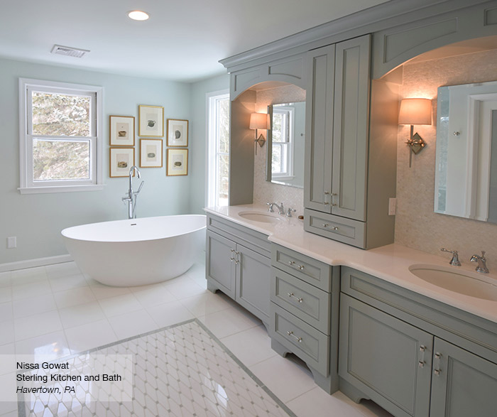 Brentwood master bath cabinets in Maple Rain