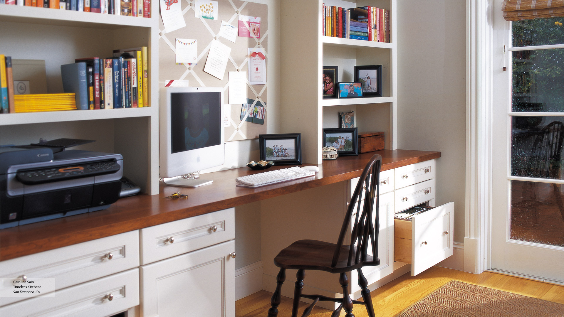 Off White Cabinets in a Home Office - Omega