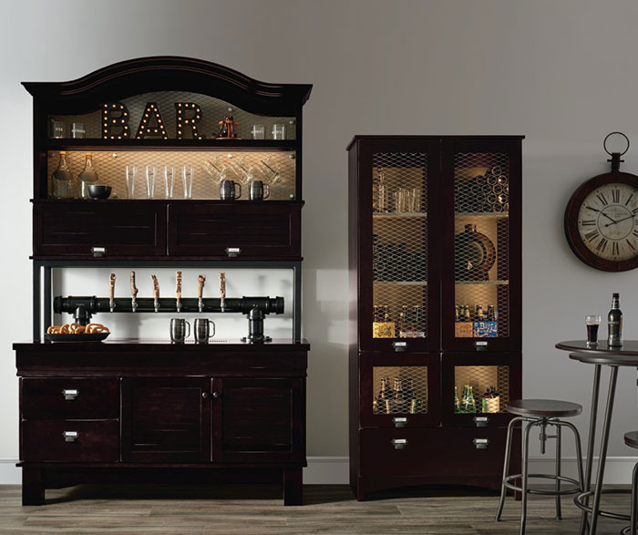 Casual Maple Bar and Beverage Station Cabinets