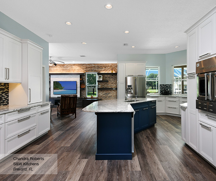 Off White Kitchen with Blue Island Cabinets