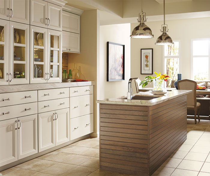 Cayhill painted Maple cabinets in a casual kitchen