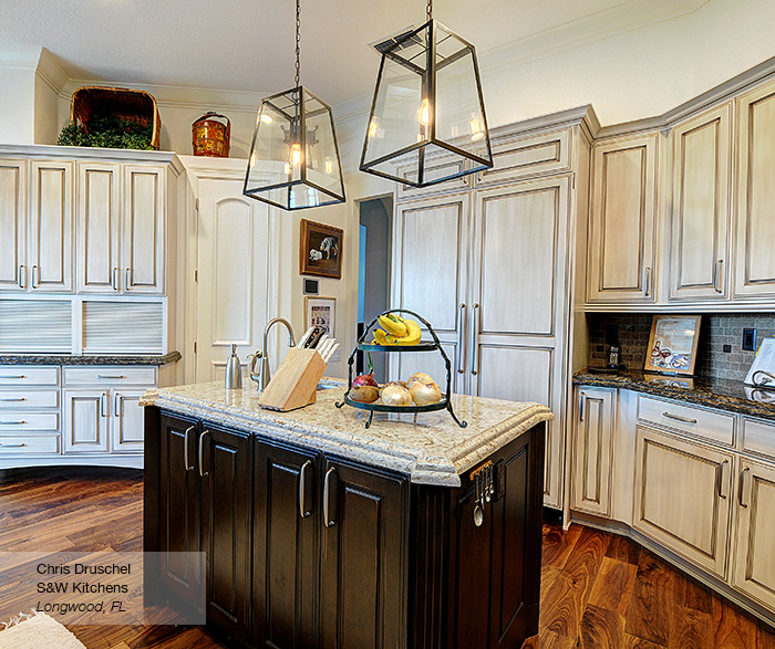 Off white cabinets with a dark wood kitchen island omega Kitchen design off white cabinets