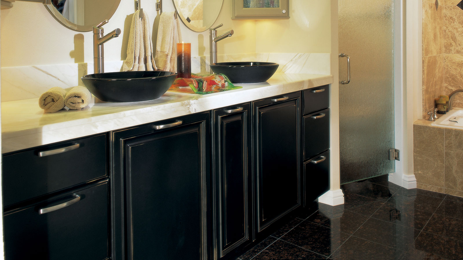 Black bathroom cabinets with distressing