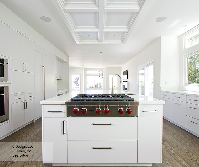 All white kitchen with modern cabinets in the Desoto door style with Pearl finish