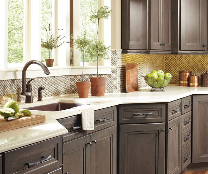 Close up of Hollibrune cabinets in casual kitchen