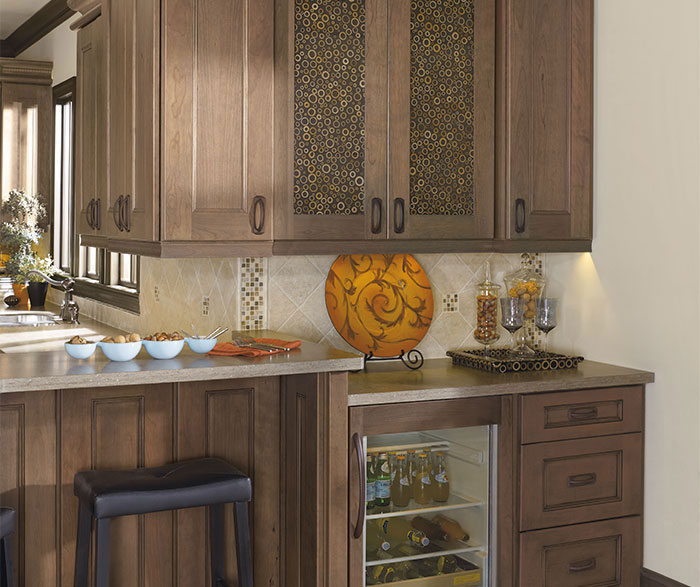 Close up of Laroche Cherry cabinets in Riverbed finish