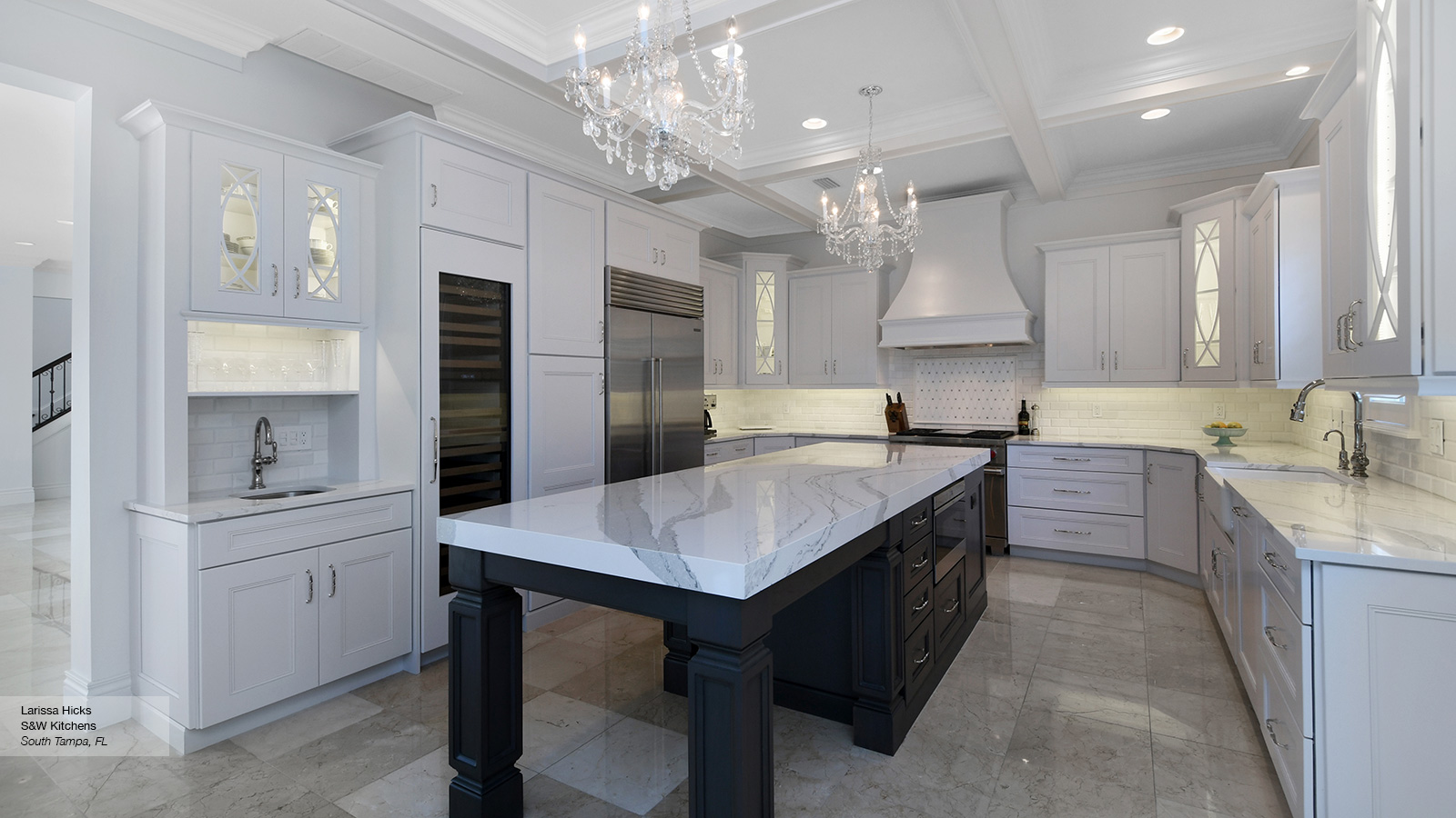 ... Laroche Kitchen Cabinets In Maple Pure White With Dark Grey Island In  Cherry Smokey Hills ...
