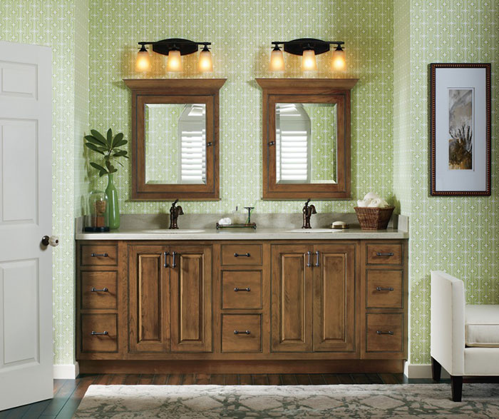 Traditional Cherry Bathroom Cabinets in Sage Finish