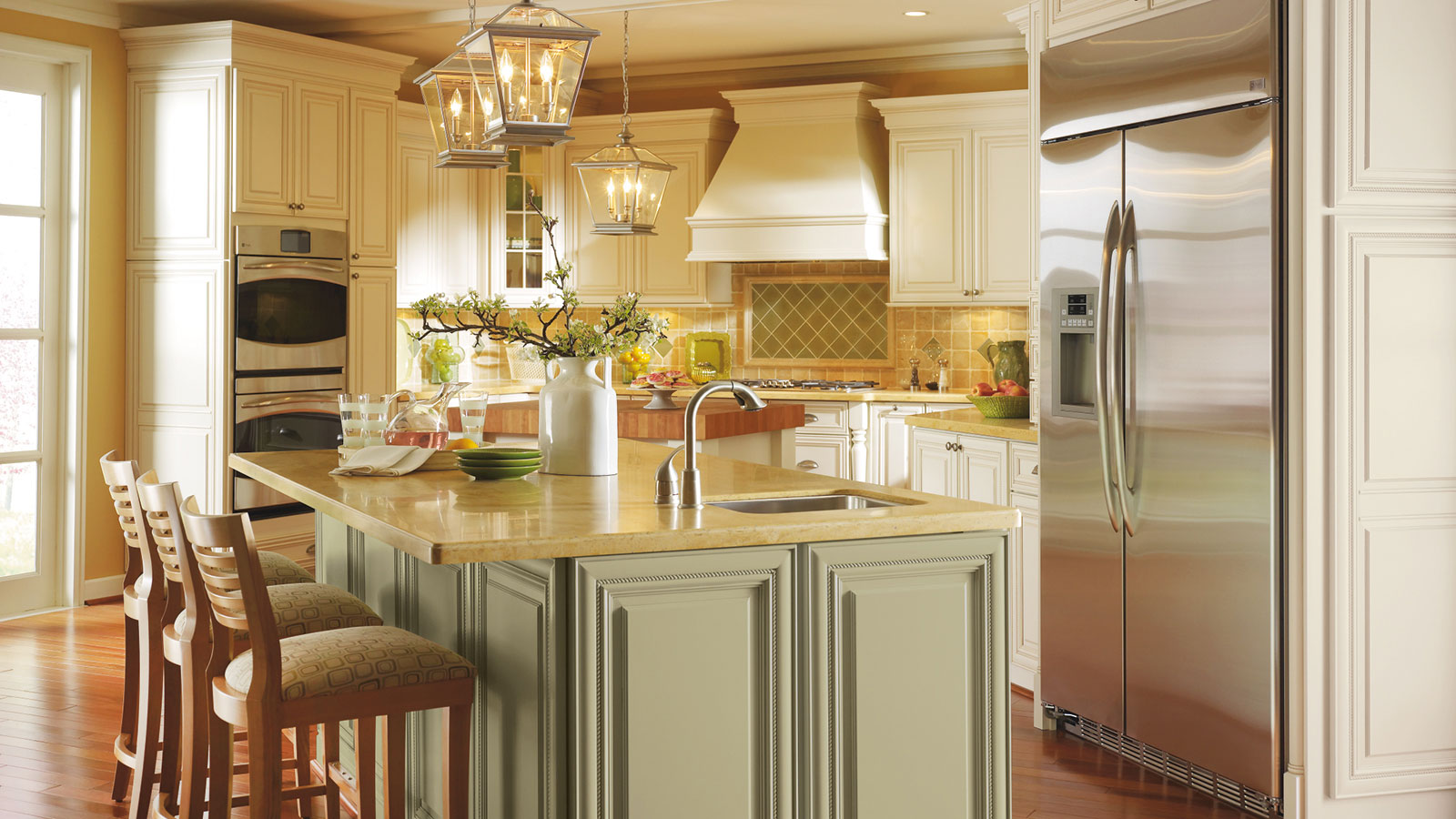 Off White Cabinets with Glaze - Omega Cabinetry