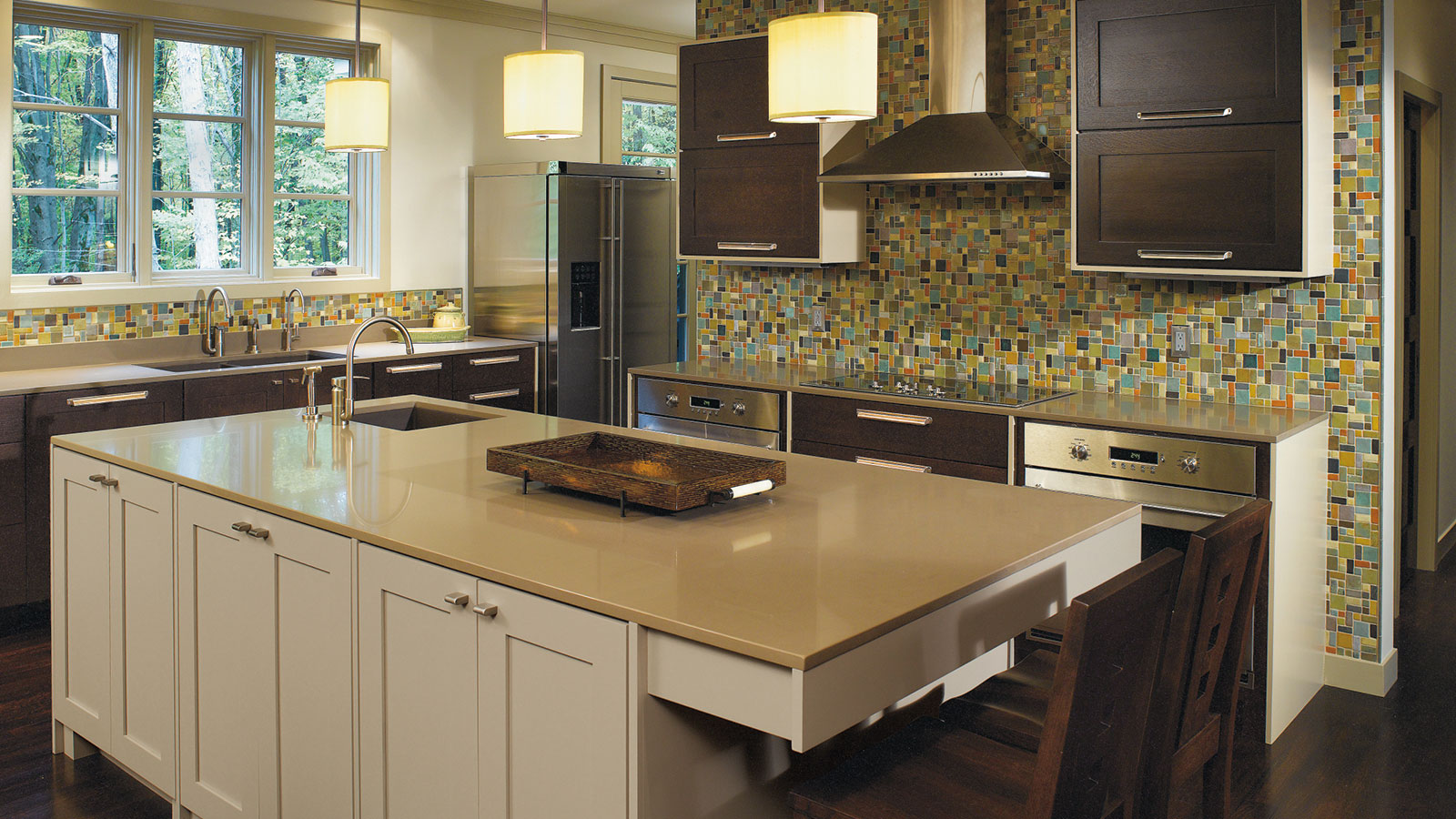 Quartersawn Oak Cabinets with Painted Kitchen Island - Omega