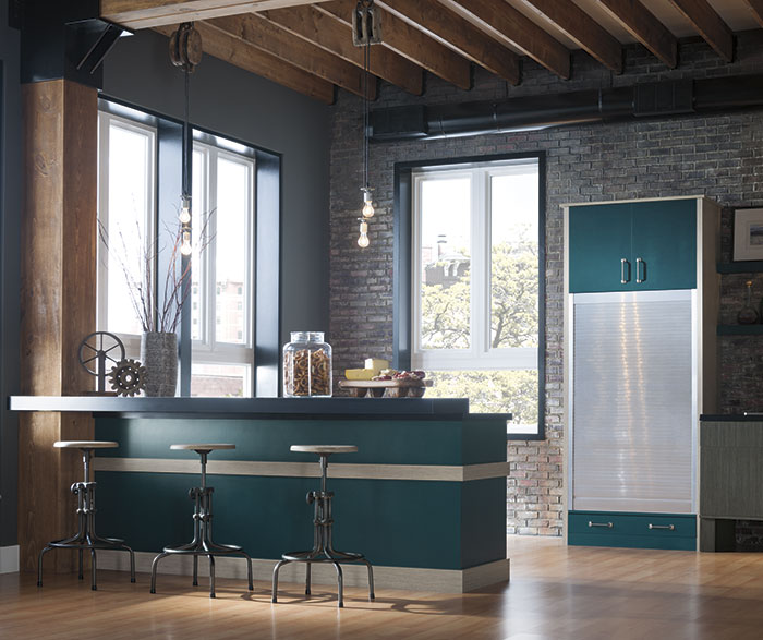 Modern kitchen with Nella Textured Laminate cabinets and custom paint