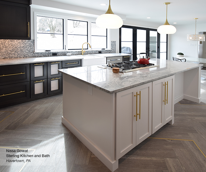 Puritan maple kitchen cabinets in smokey hills and pearl