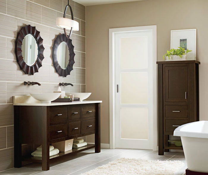 Casual Cherry Bathroom Cabinets in Truffle Finish