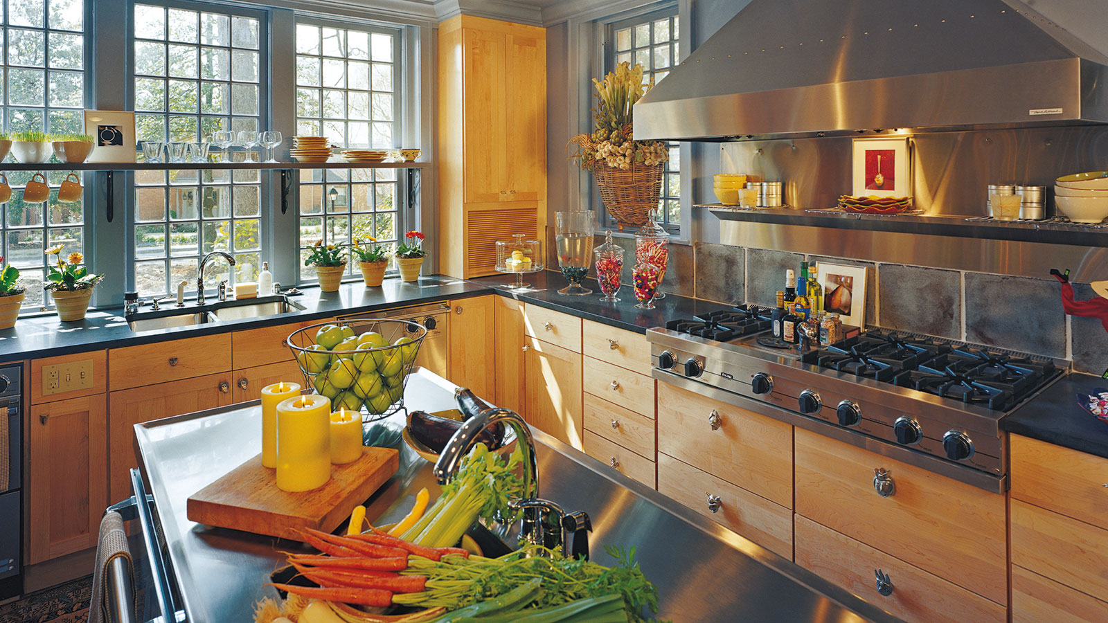 Natural Maple Kitchen Cabinets - Omega Cabinetry