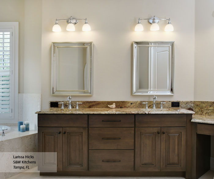 Renner Cherry bathroom cabinets in Riverbed finish with Onyx glaze