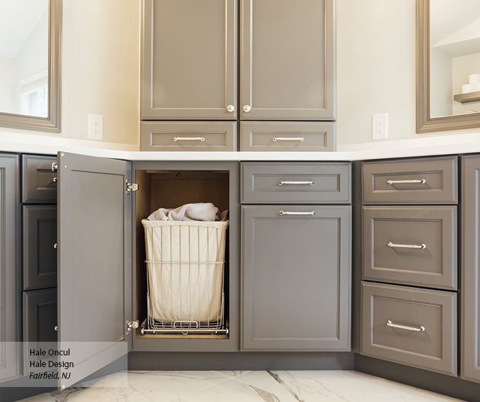 Casual Medium Gray Painted Maple Bathroom Cabinets