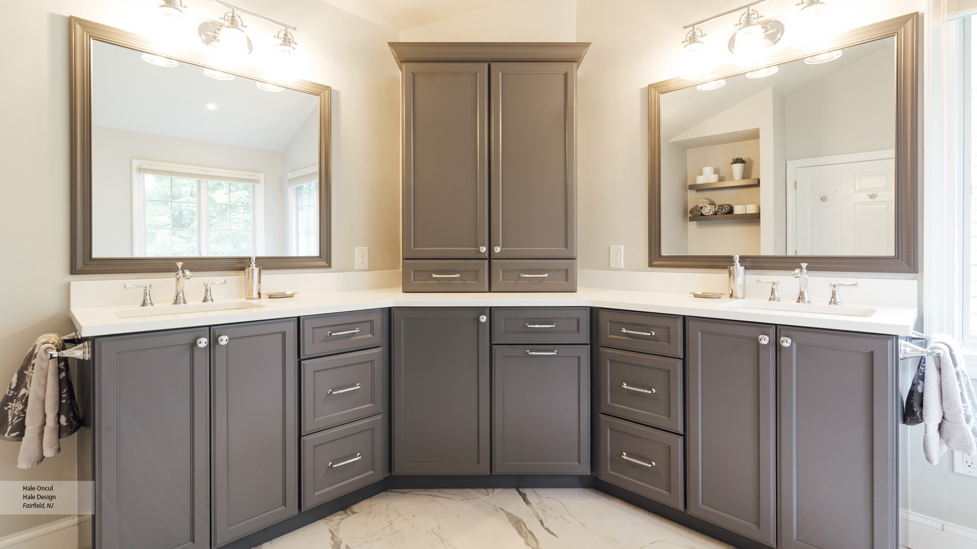 Gray Painted Maple Bathroom Cabinets