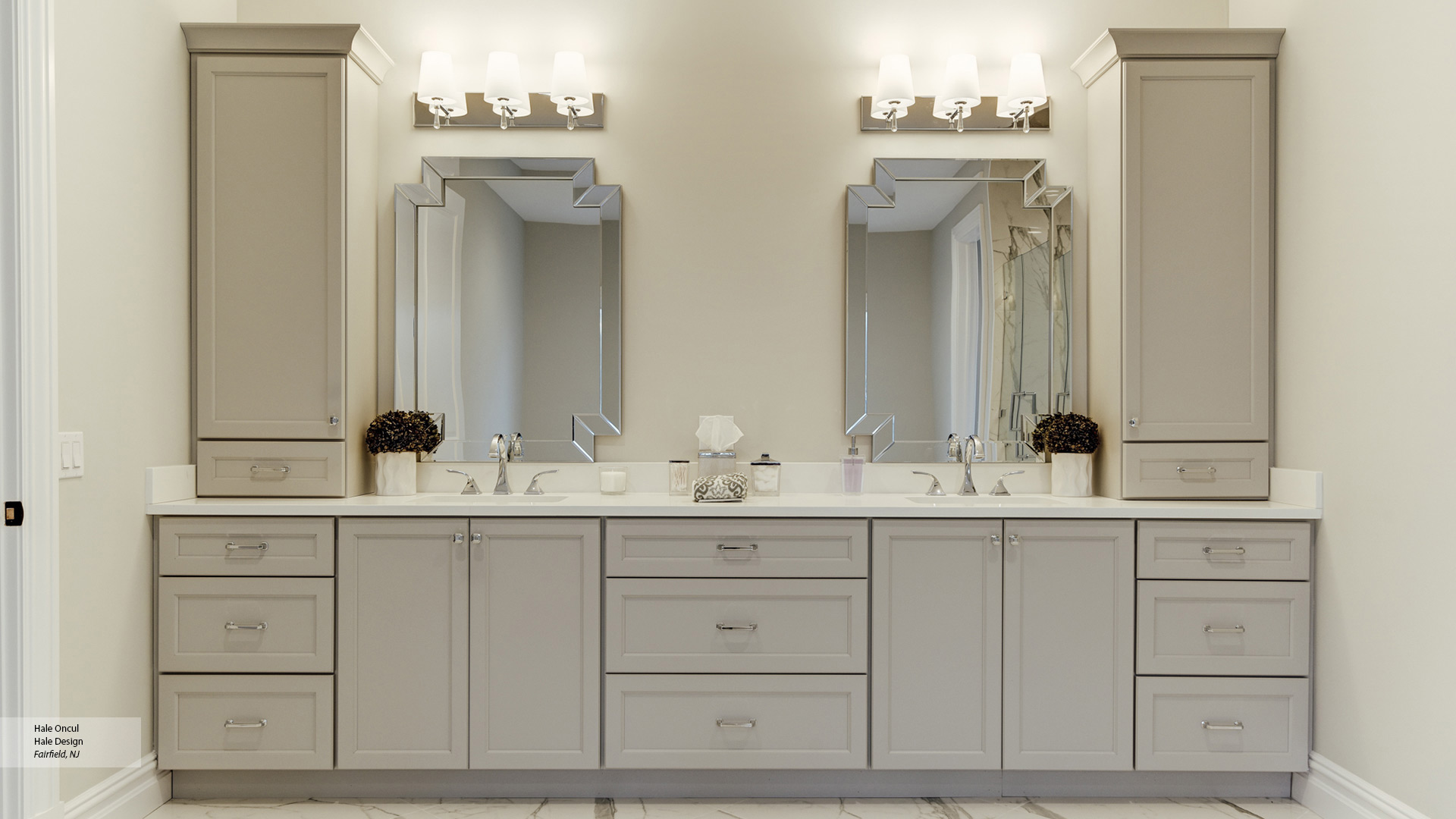 Dove Gray Painted Bathroom Cabinets