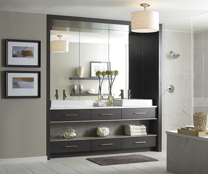 Modern Walnut Bathroom Vanity Omega Cabinetry