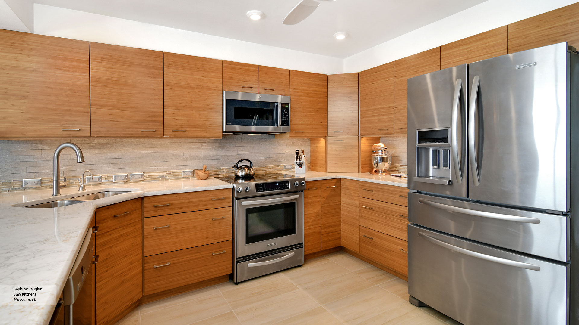 Natural Bamboo Kitchen Cabinets - Omega Cabinetry